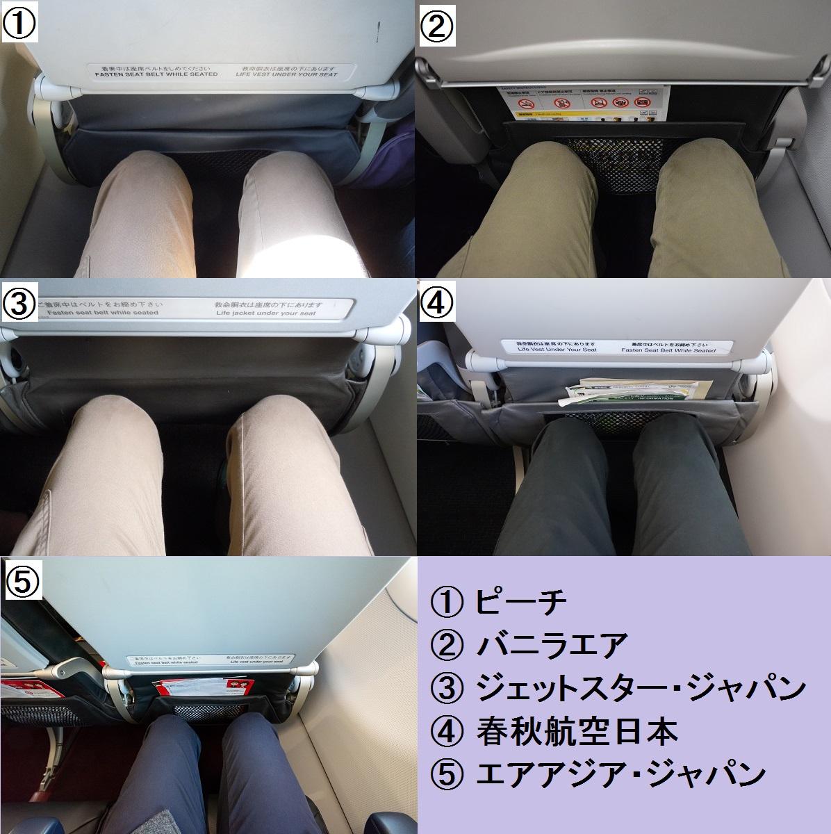 LCC5社の座席の足元比較