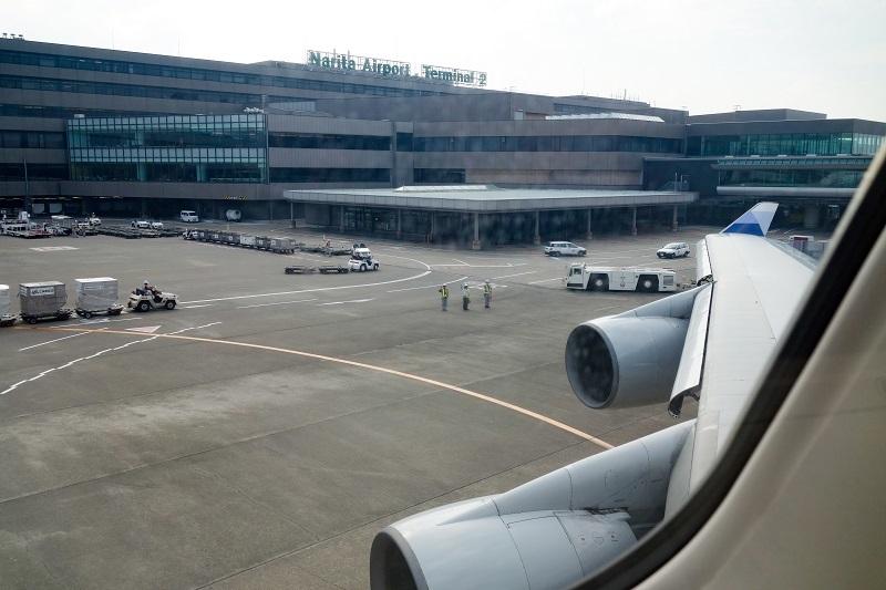 成田空港出発時の機内からの様子