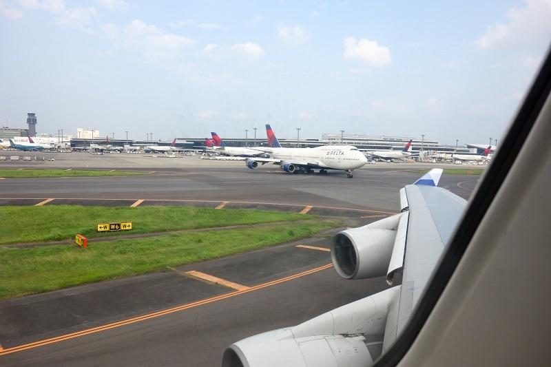 機内から見えたデルタ航空のB747