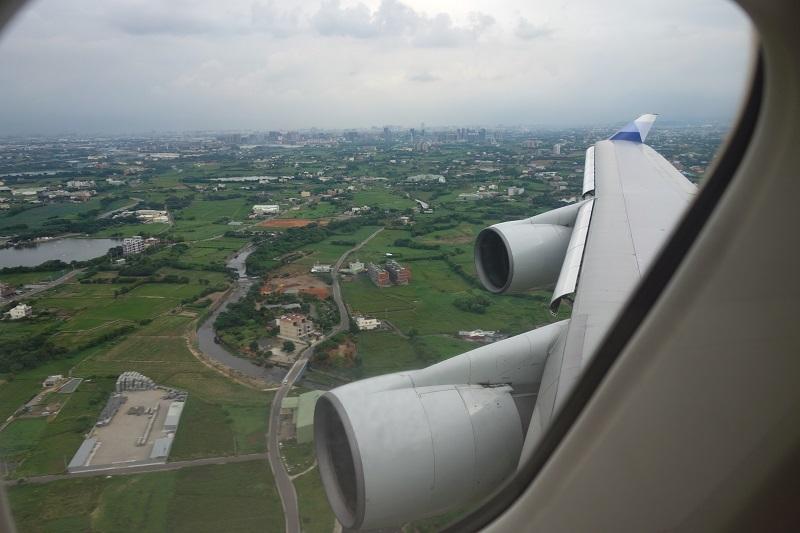 台北着陸直前の景色