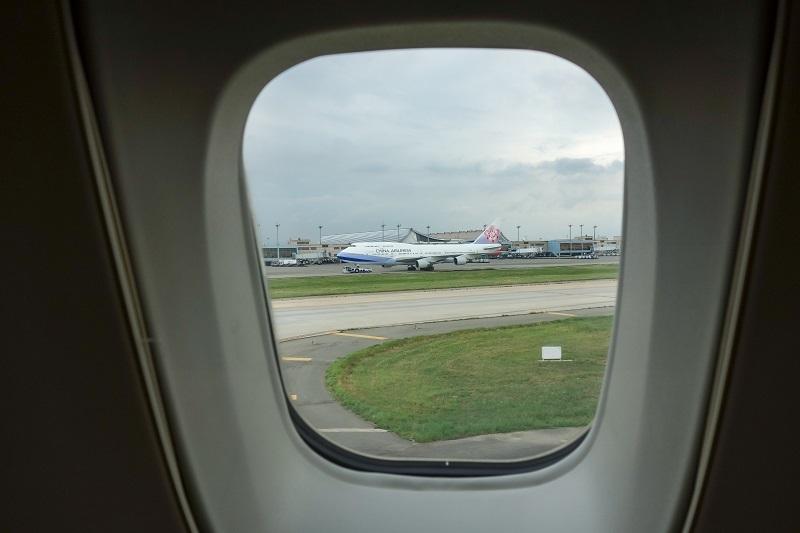 台北到着時に機内から見えたチャイナエアラインのB747