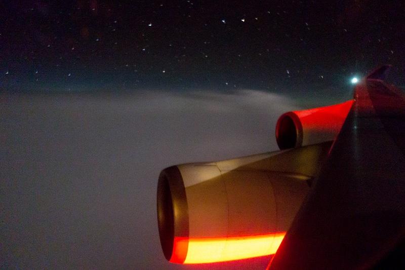 タイ国際航空のB747-400からの機窓