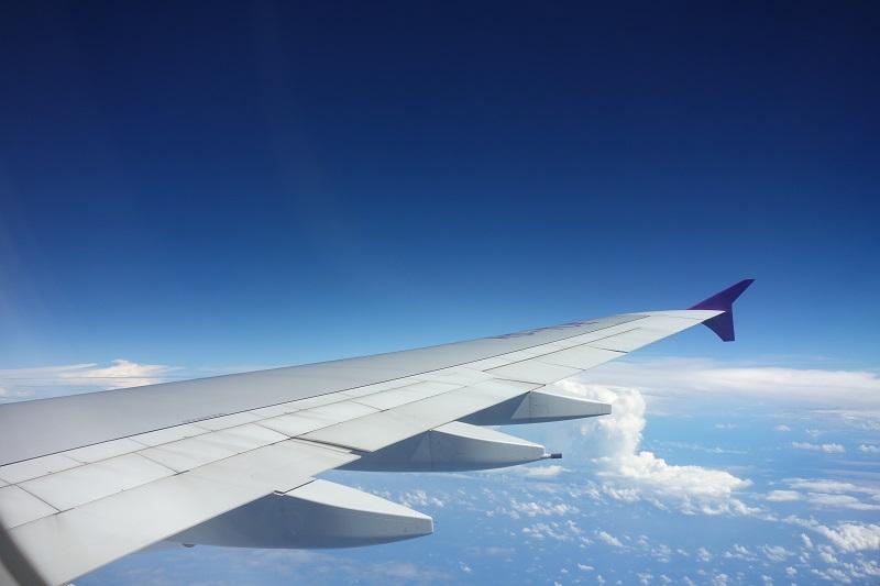 タイ国際航空のA380-800の2階席からの機窓