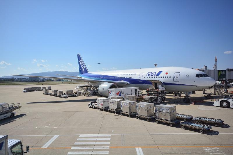 伊丹空港に駐機するANAのB777-200型機