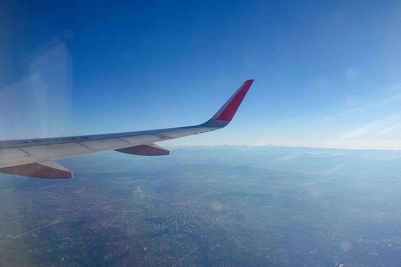 機内上空から見た名古屋市街地の様子