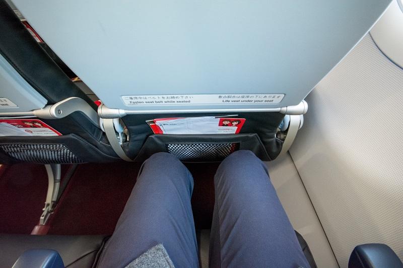 エアアジア・ジャパンの座席の足元の広さ