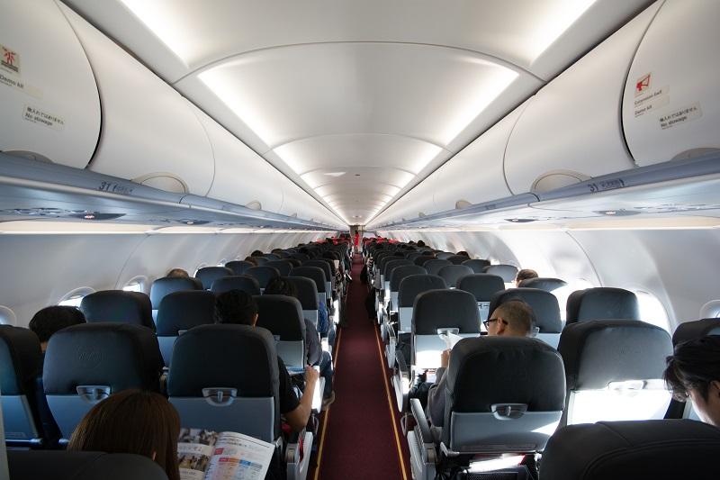 エアアジア・ジャパンのA320-200型機の機内の様子