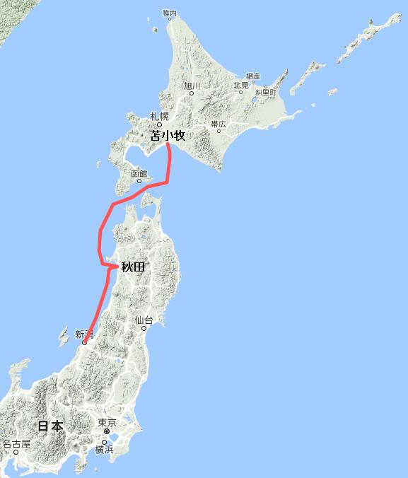 新日本海フェリー(新潟=苫小牧)の航行ルート