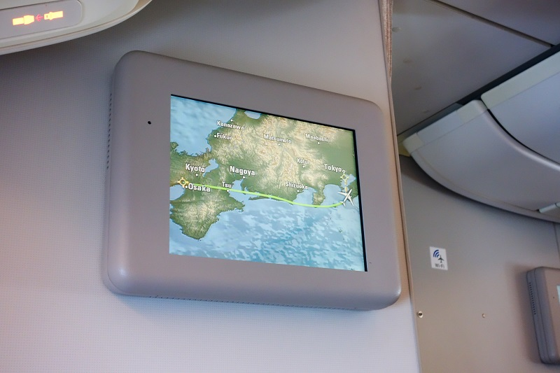 機内モニターに映し出された飛行ルート