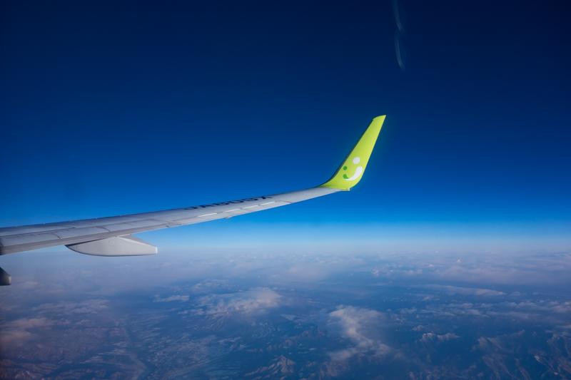 ソラシドエアの翼を機内から
