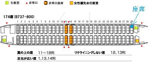 ソラシドエアのB737-800型機の座席表