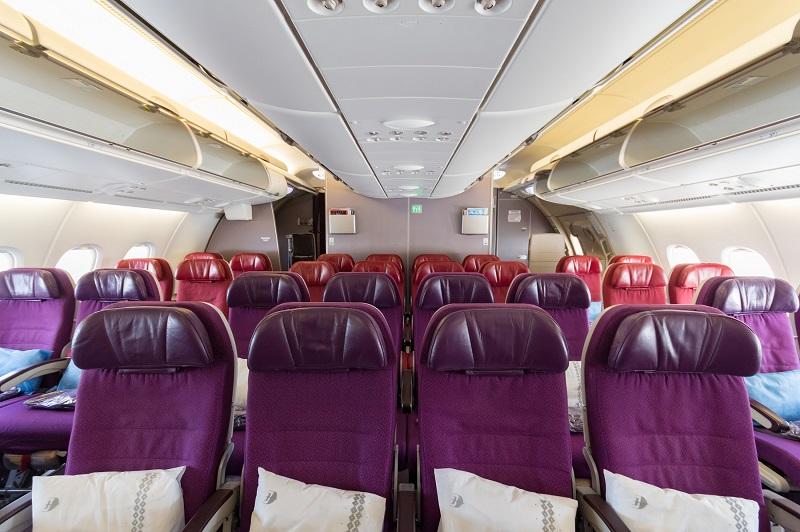 A380型機の2階席エコノミークラス領域の全体