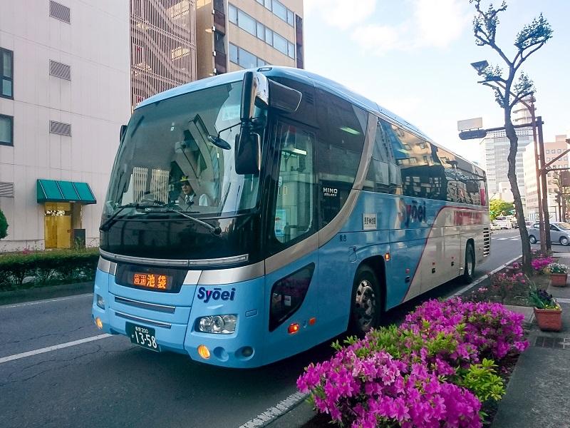 昌栄バスの独立3列タイプの車両