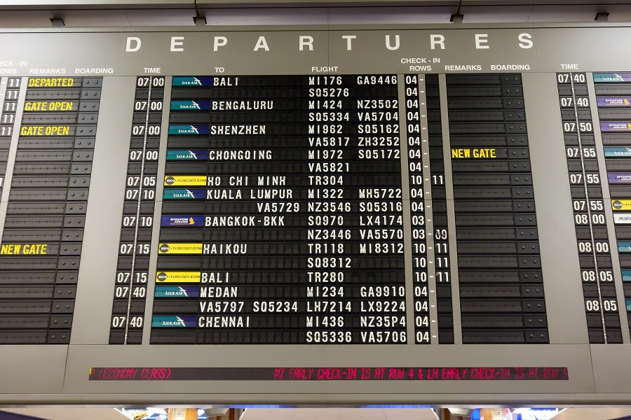 チャンギ国際空港のパタパタ表示板