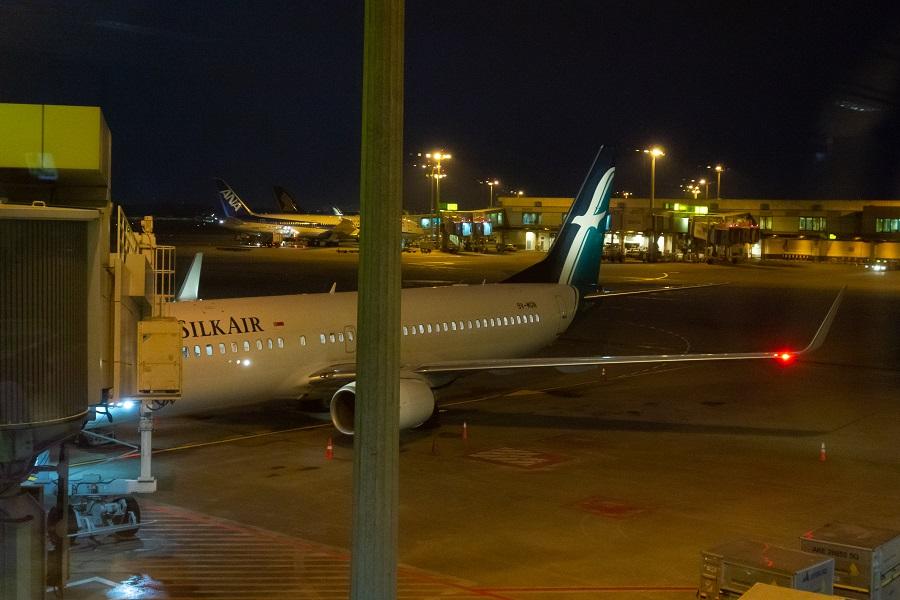 搭乗機のシルクエアーのB737-800(9V-MGN)
