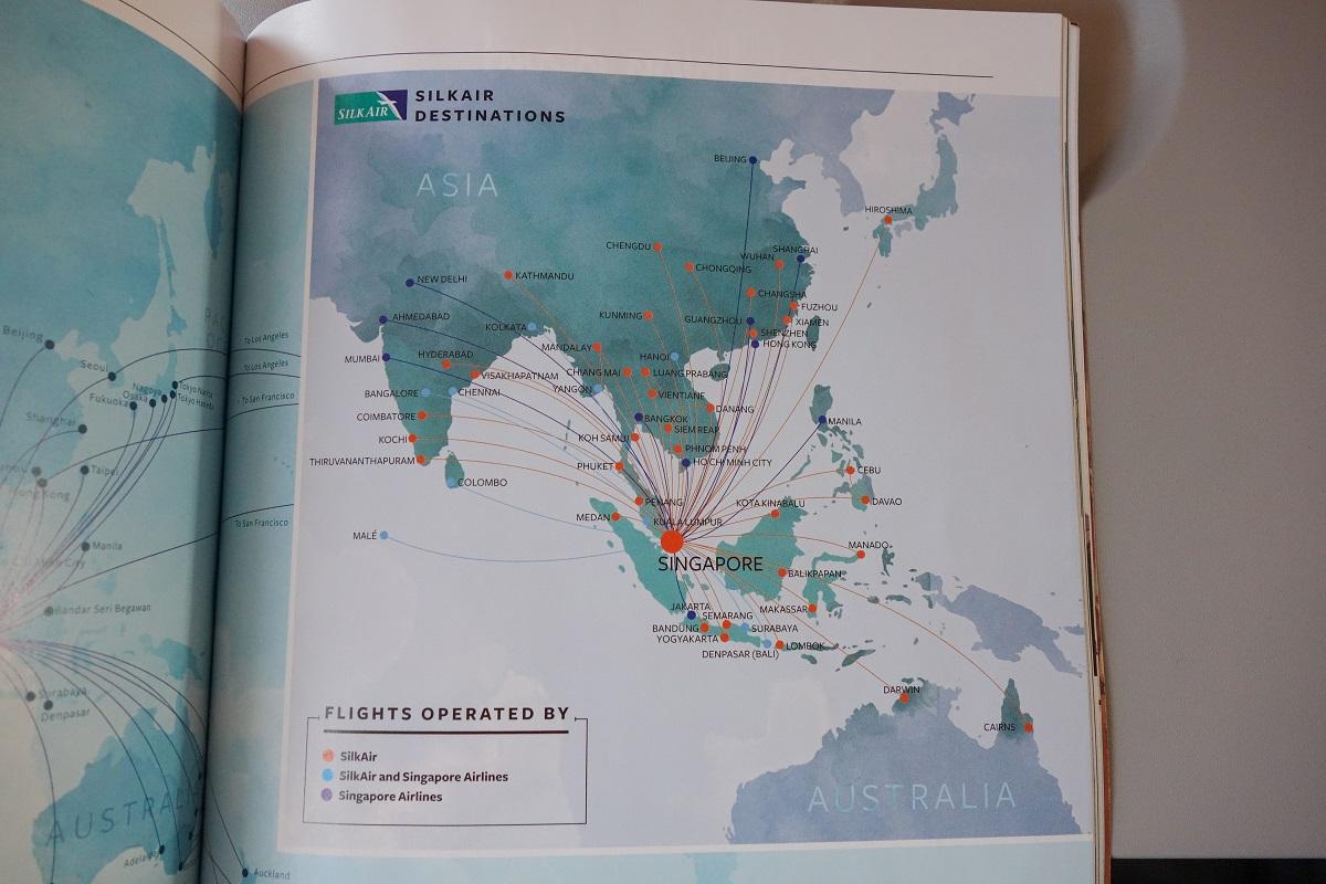 シルクエアーとシンガポール航空のルートマップ