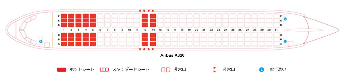 エアアジア・ジャパンのA320型機の座席表