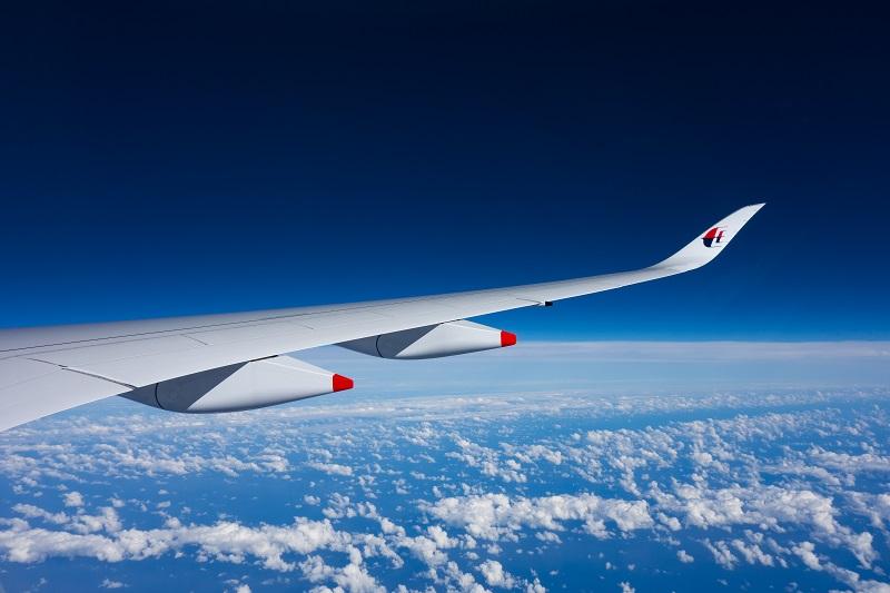 マレーシア航空のA350型機の翼