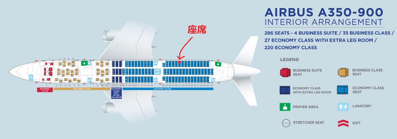 マレーシア航空のA350-900型機の座席表と自席の位置