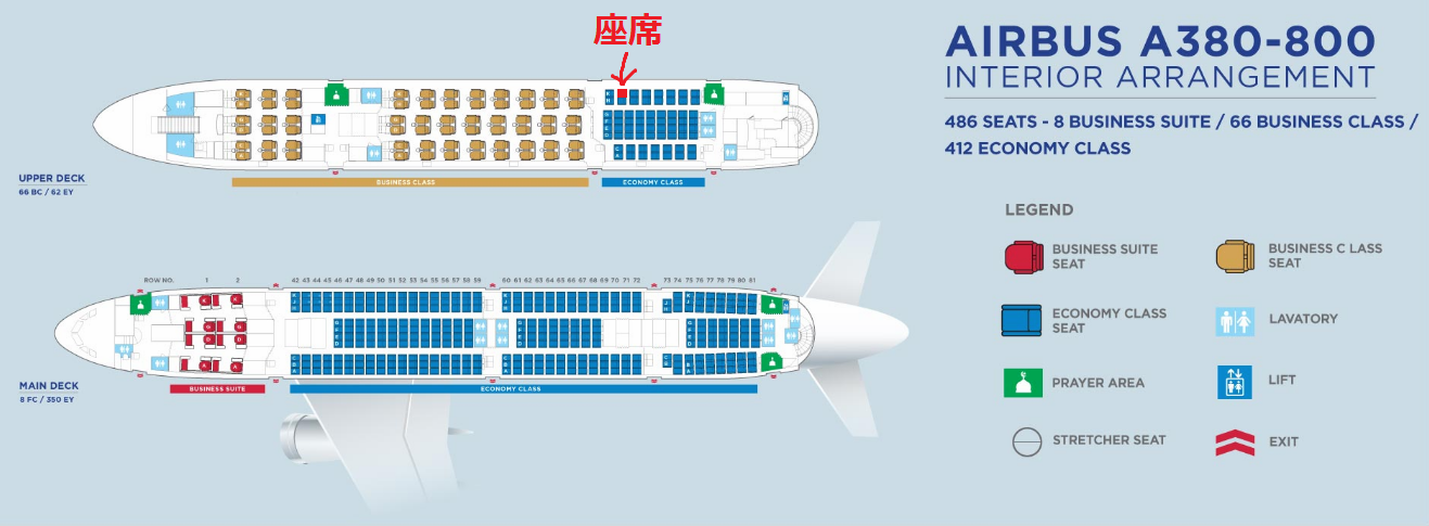 マレーシア航空のA380型機の座席表と自席の位置