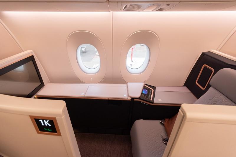 A350のビジネス・スイートの座席