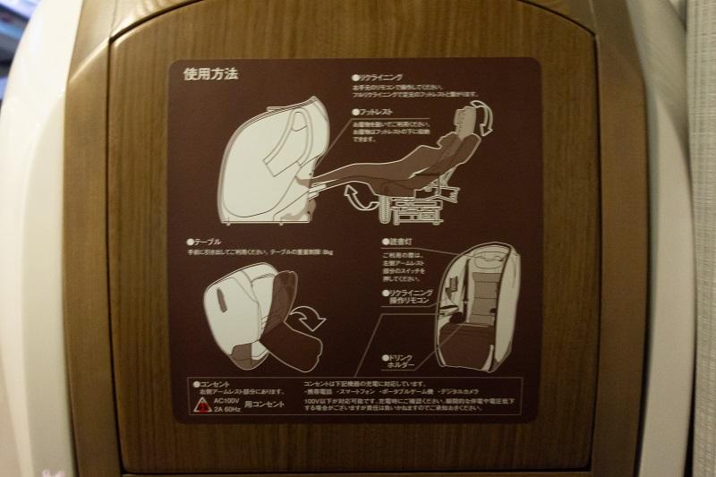 座席の各機能の説明