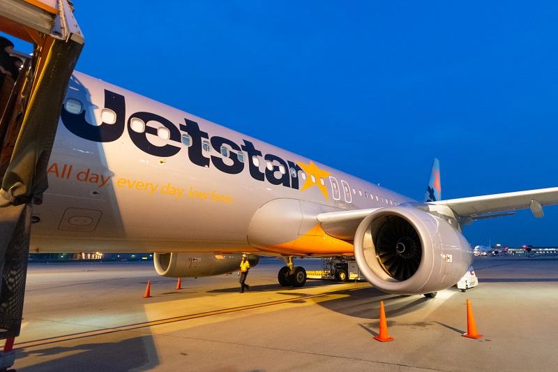 第3ターミナルに到着したジェットスター機