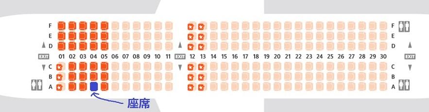 ジェットスターのA320型機の座席表と自席の位置 (04A)