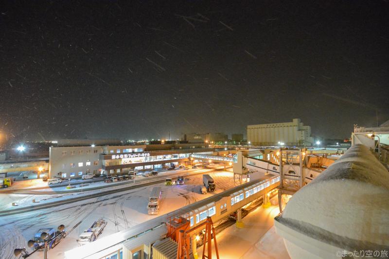 雪の舞う苫小牧港