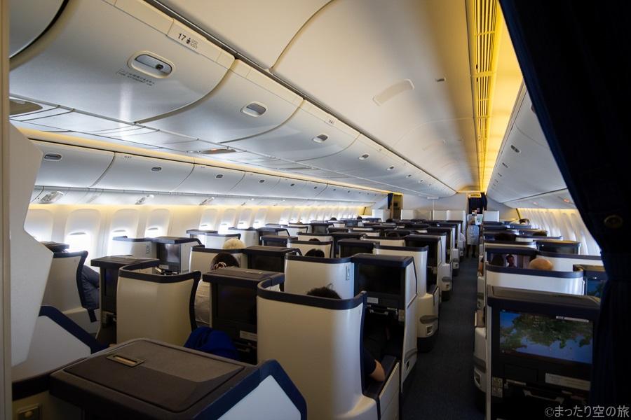 ビジネスクラス領域の機内の様子