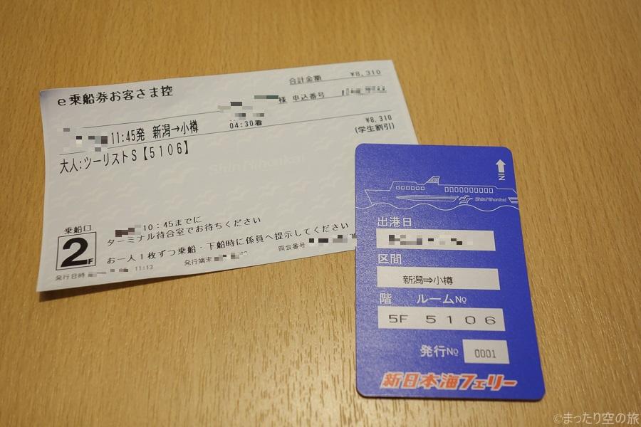 チケットとルームキー