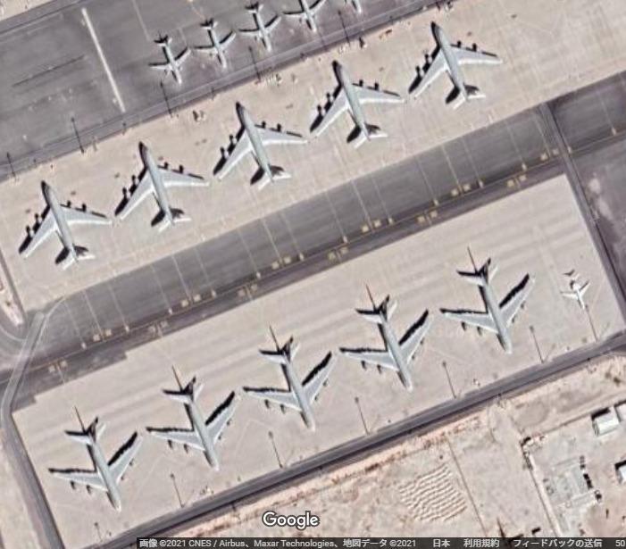 ドーハ国際空港に駐機するカタール航空のA380型機