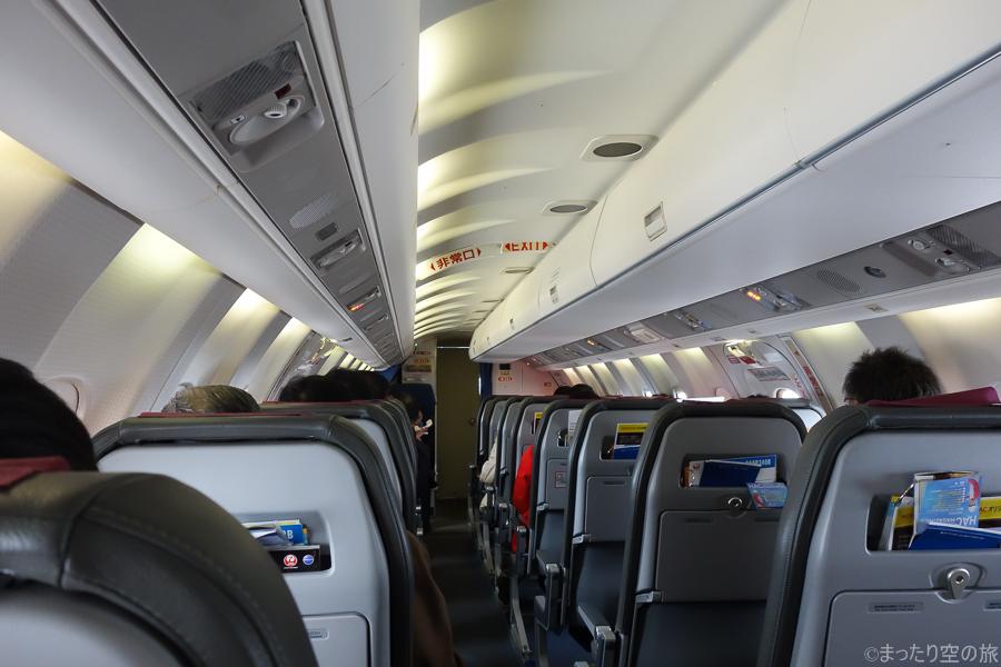 水平飛行時の機内の様子