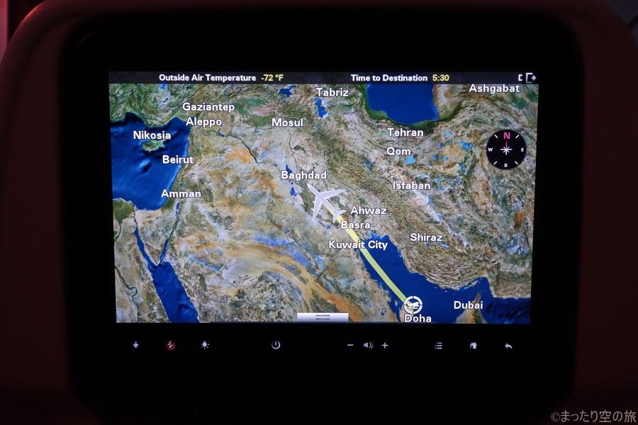 バグダット上空を飛行中の本機のフライトマップ