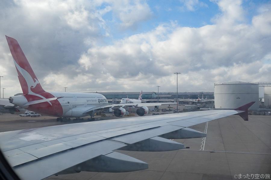 ロンドン・ヒースロー国際空港に駐機するカンタスのA380