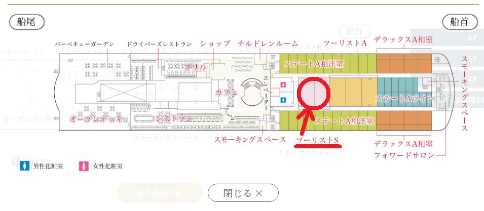船室内の見取り図