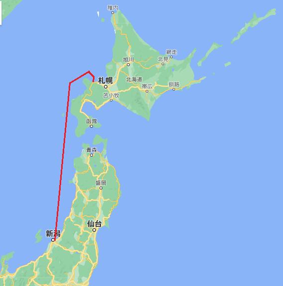 新潟港から小樽港までの航行ルート
