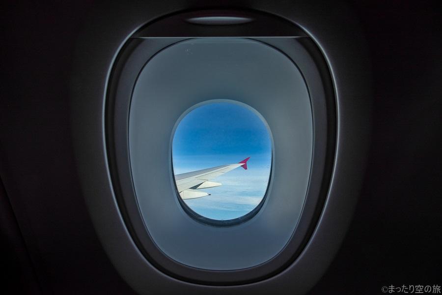A380の2階席の厚い窓からの景色