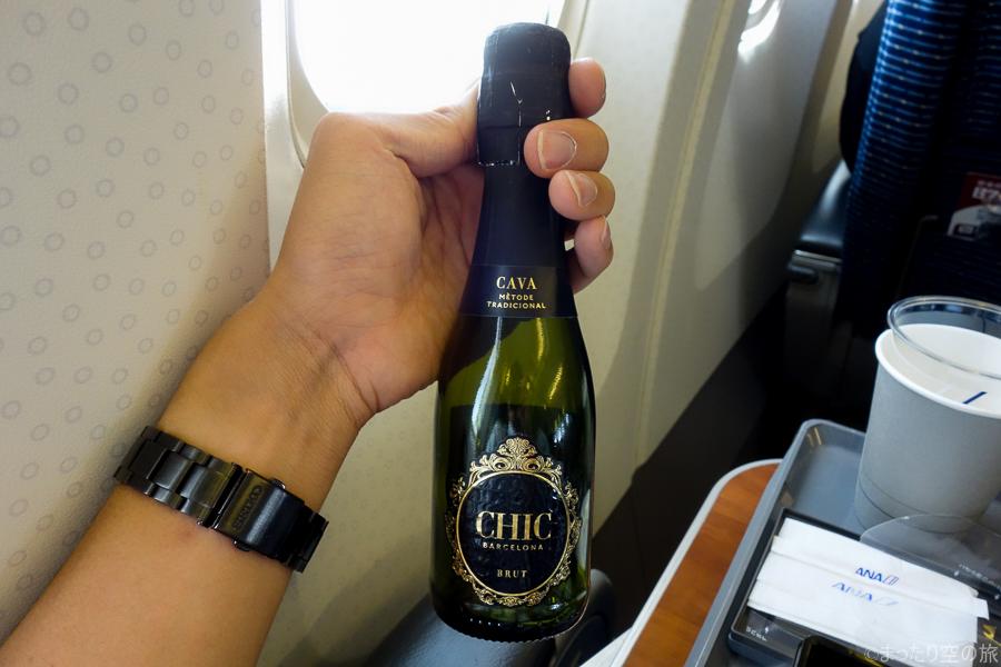 機内で提供されたスパークリグワイン