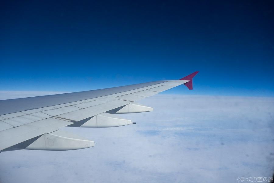 A380の2階席からの水平飛行中の景色