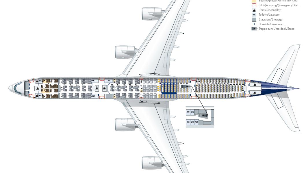 ルフトハンザのA340-600型機の座席表とトイレの位置