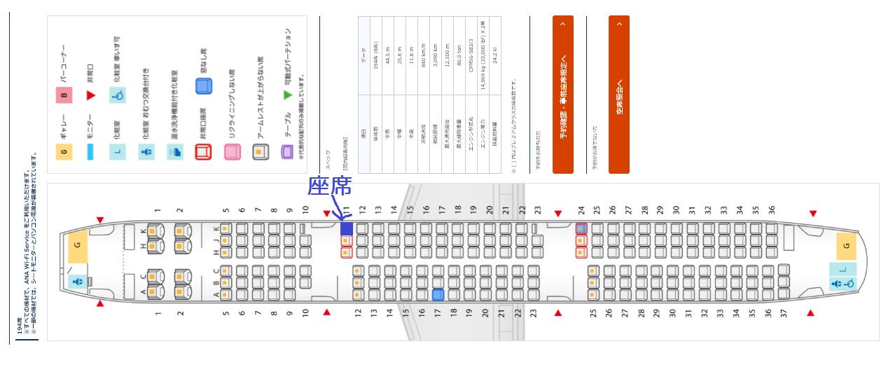 ANAのA321neoの座席表と自席の位置