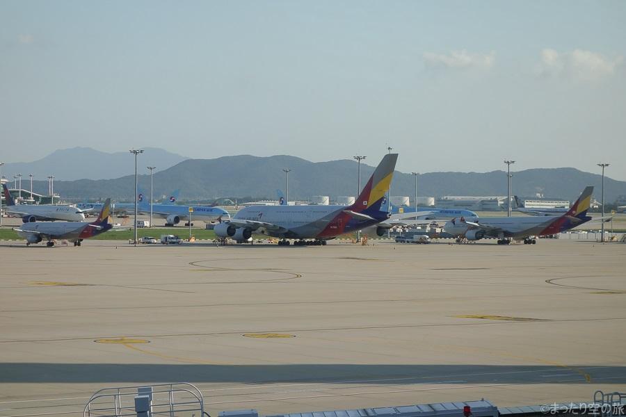 仁川国際空港に駐機するアシアナ航空のA380など
