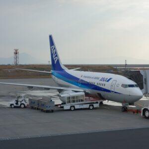 展望デッキで撮影した羽田からの搭乗機