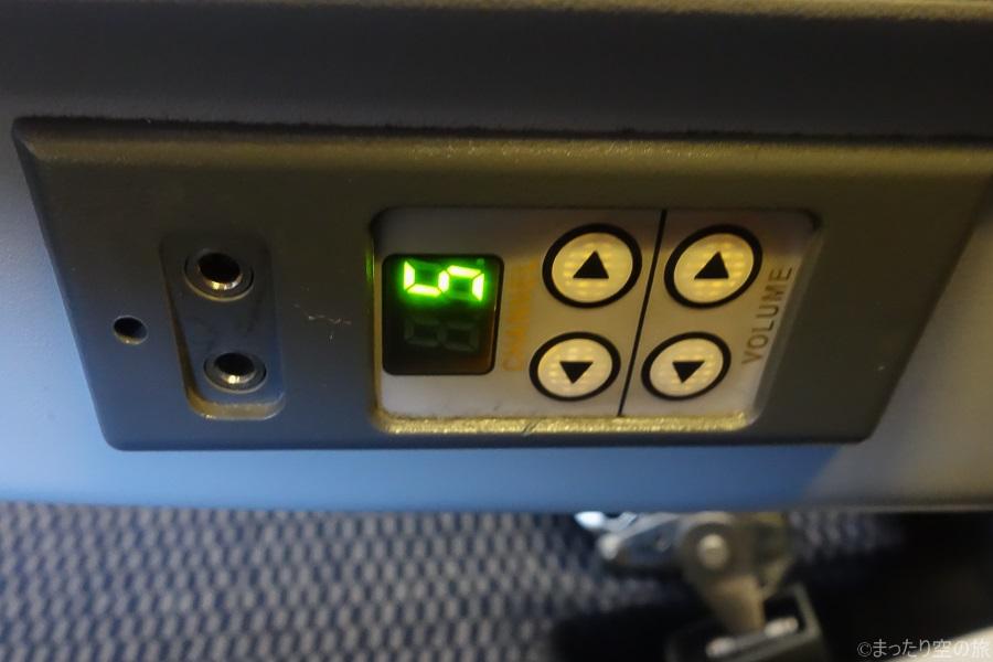 機内オーディオの操作パネル