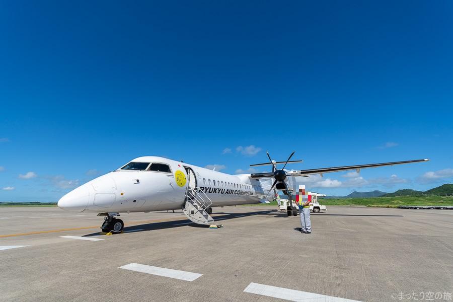 駐機する琉球エアコミューターの機体