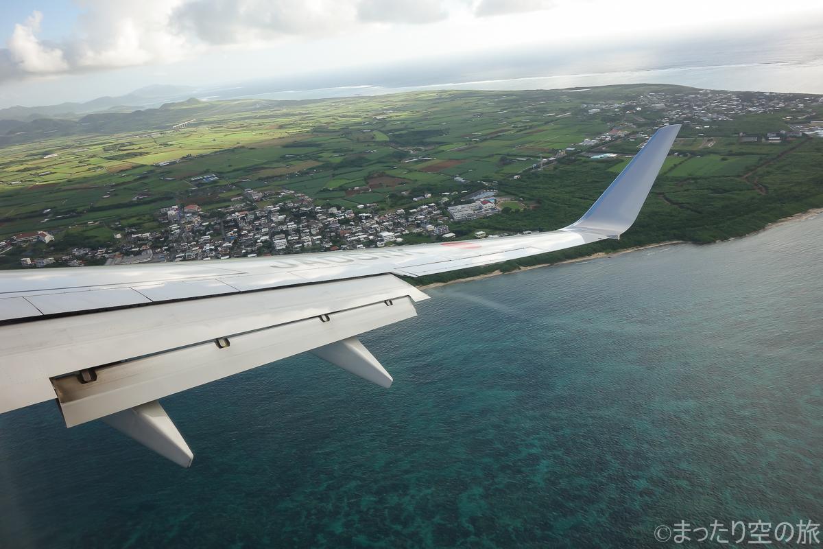 石垣島への着陸の様子