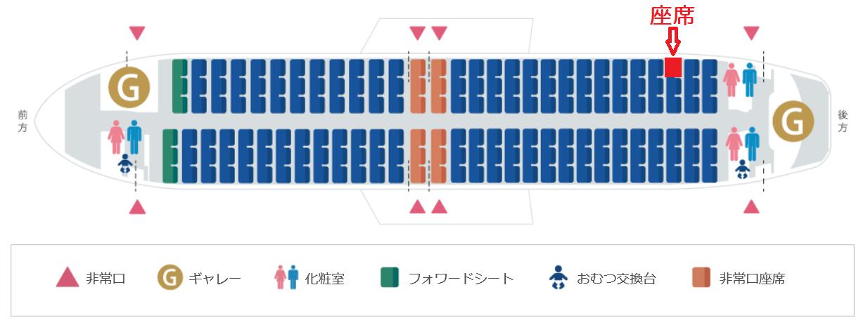 スカイマークのB737-800型機の座席表
