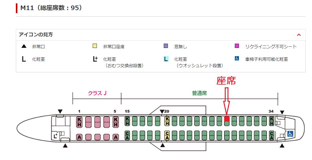 J-AIRのE190型機の座席表