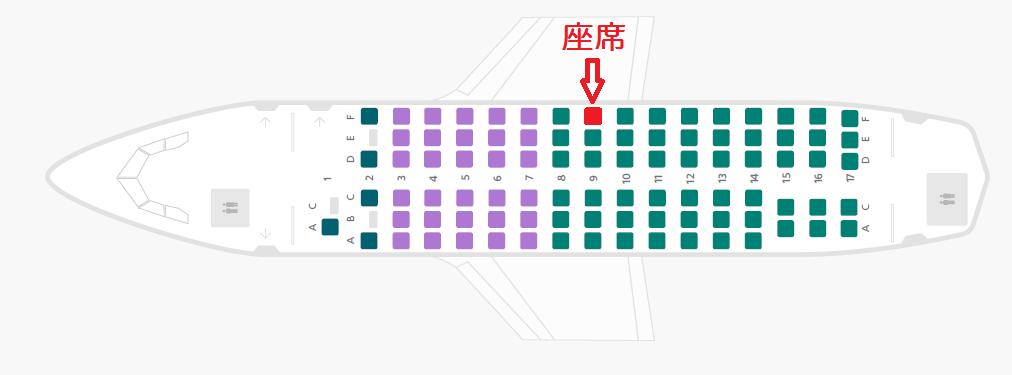 エアリンガスのRJ85型機の座席表